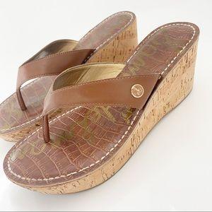 SAM EDELMAN Brown Romy Thong Wedge Sandal